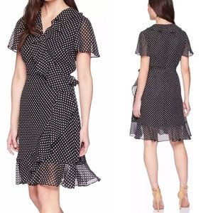 NWT Tahari Dress Polka Dot Ruffle Wrap